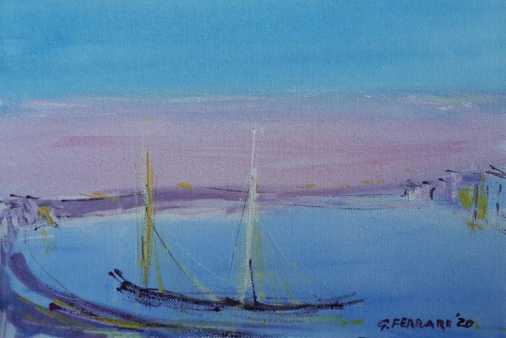 Paesaggio con barche a vela